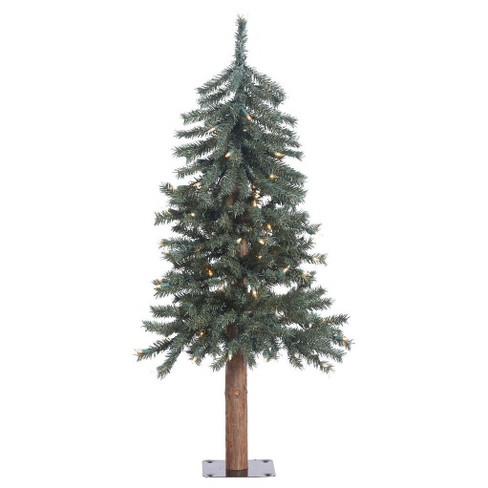 3ft Natural Bark Alpine Artificial Christmas Tree with Clear Lights - image 1 of 2