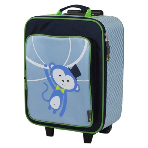 Itzy Ritzy Adventure Happens Kids Rolling Suitcase Monkey - Blue - image 1 of 5