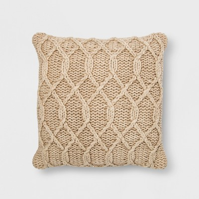 Washed Chunky Kint Square Throw Pillow Neutral - Threshold™