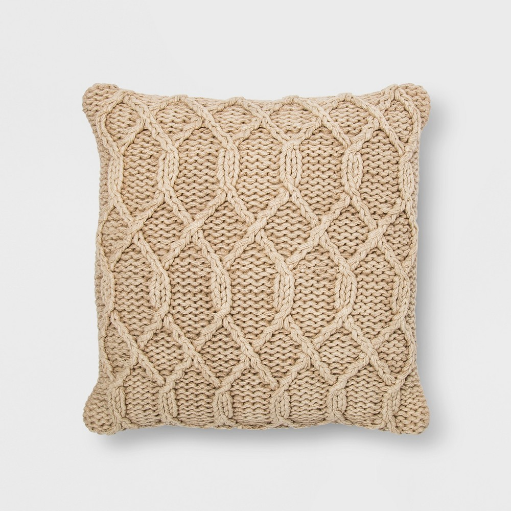 Washed Chunky Kint Square Throw Pillow Neutral - Threshold