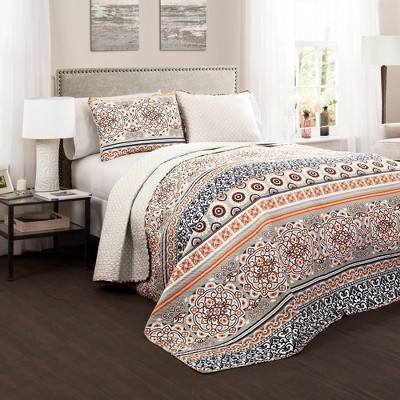 Nesco Quilt 3 Piece Set (King)Navy/Coral - Lush Décor