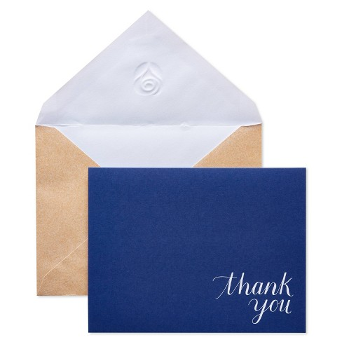 24ct Thank You Cards Kraft-Style Envelopes Navy/Brown - image 1 of 4