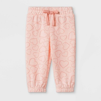 Grayson Mini Baby Girls' Heart Pull-On Pants - Pink 6-9M