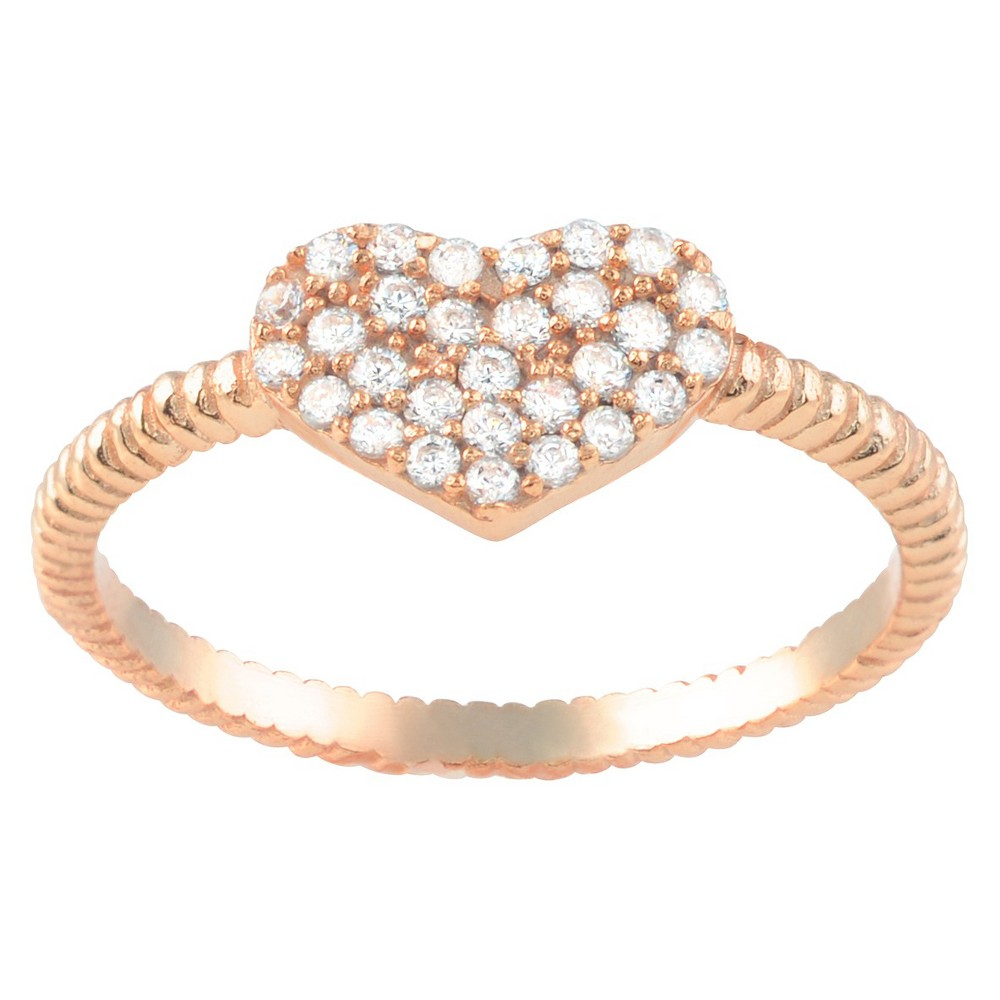 1/4 CT. T.W. Round-cut CZ Heart Accent Pave Set Ring in Sterling Silver - Rose Gold, 6, Girl's, Pink
