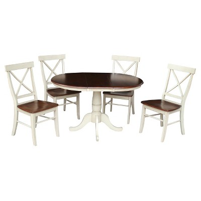 """5pc 36"""" Dining Set RoundExtendable Dining Table Wood/Antiqued Almond/Espresso - International Concepts"""