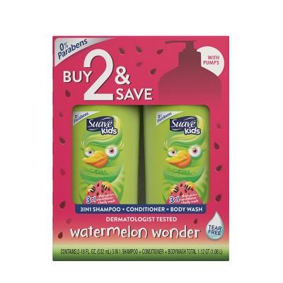 Suave Kids 3-in-1 Watermelon Wonder Body Wash + Shampoo and Conditioner - 18 fl oz/2pk