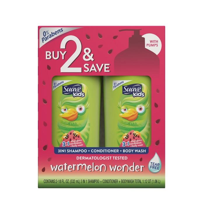 Suave Kids 3-in-1 Watermelon Wonder Body Wash + Shampoo And Conditioner - 18 Fl Oz/2pk : Target