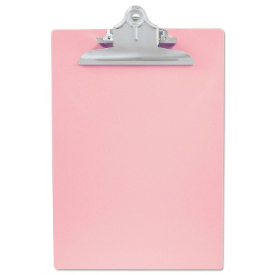 """Saunders Recycled Plastic Clipboard with Ruler Edge 1"""" Clip Cap 8 1/2 x 12 Sheets Pink 21800"""