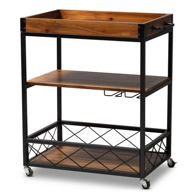 Capri Oak and Finished Mobile Metal Bar Cart with Stemware Rack Brown - Baxton Studio