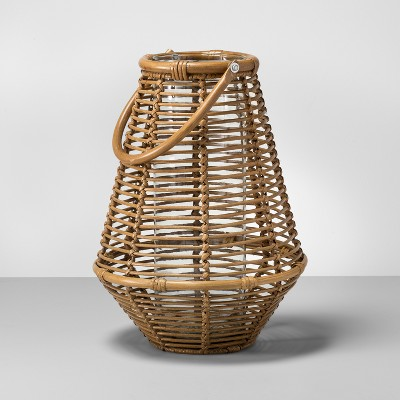 15.5  x 11.5  Rattan Lantern Candle Holder with Glass Insert Natural - Opalhouse™