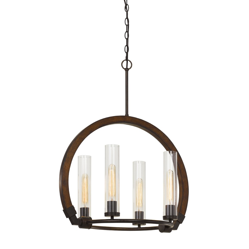Image of 60W X 4 Sulmona Wood/Metal Chandelier With Glass Shade Ceiling Light (Edison Bulbs Not Included) - Cal Lighting, Multi-Colored