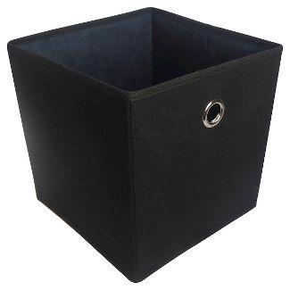"11"" Fabric Cube Storage Bin Black - Room Essentials™"