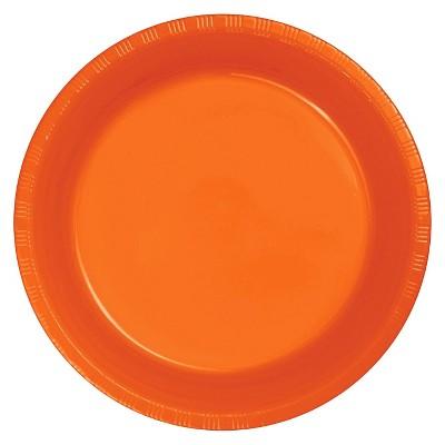 """Sunkissed Orange 9"""" Plastic Plates - 20ct"""