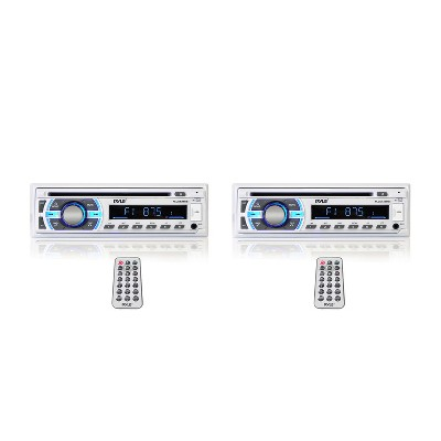 Pyle PLCD43BTM Single DIN Marine Bluetooth Receiver, Stereo System, & CD Player w/ Remote, Hands Free Calling, & Detachable Face, White (2 Pack)