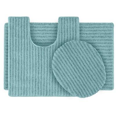 Garland 3 Piece Sheridan Plush Washable Nylon Bath Rug Set - Sea foam