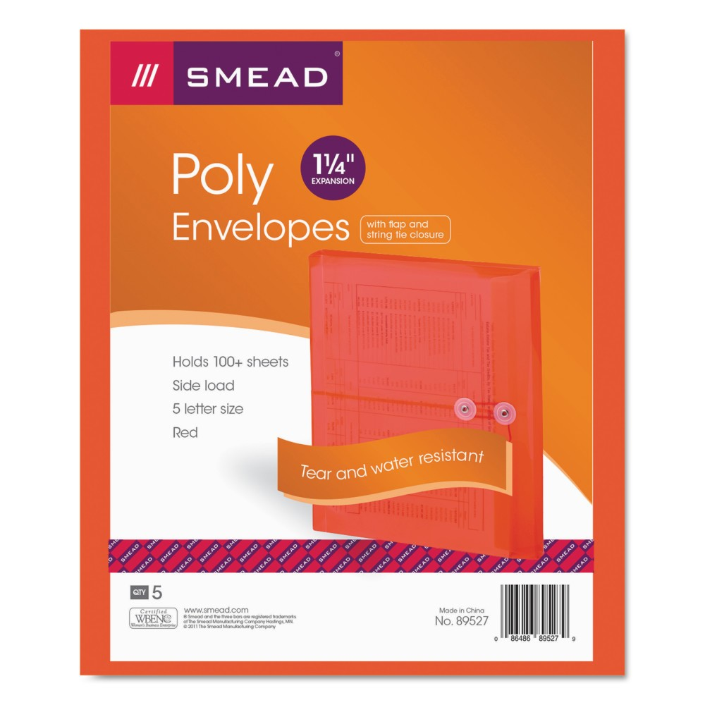 Smead Poly String & Button Booklet Envelope, 9 3/4 x 11 5/8 x 1 1/4, Red, 5pk