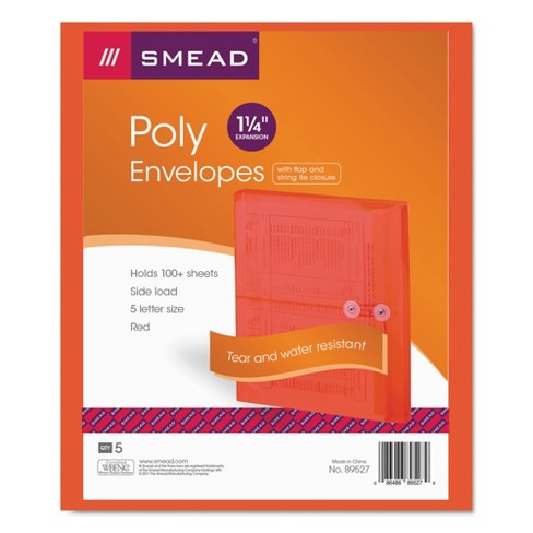 Smead® Poly String & Button Booklet Envelope, 9 3/4 x 11 5/8 x 1 1/4, Red, 5pk - image 1 of 2
