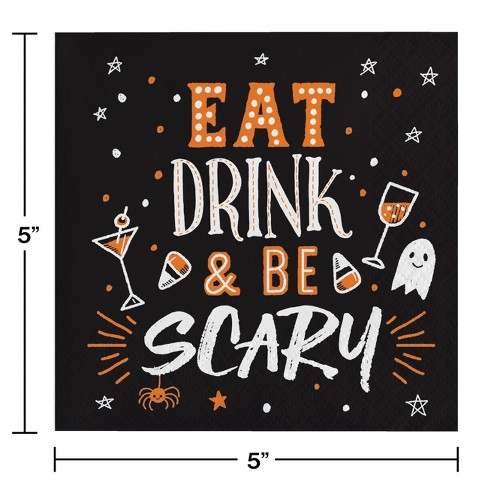 97a1260b07e Eat Drink And Be Scary Beverage Napkins   Target