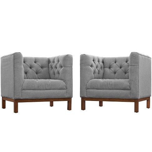 Panache Living Room Set Upholstered Fabric Set of 2 Expectation Gray - Modway - image 1 of 6