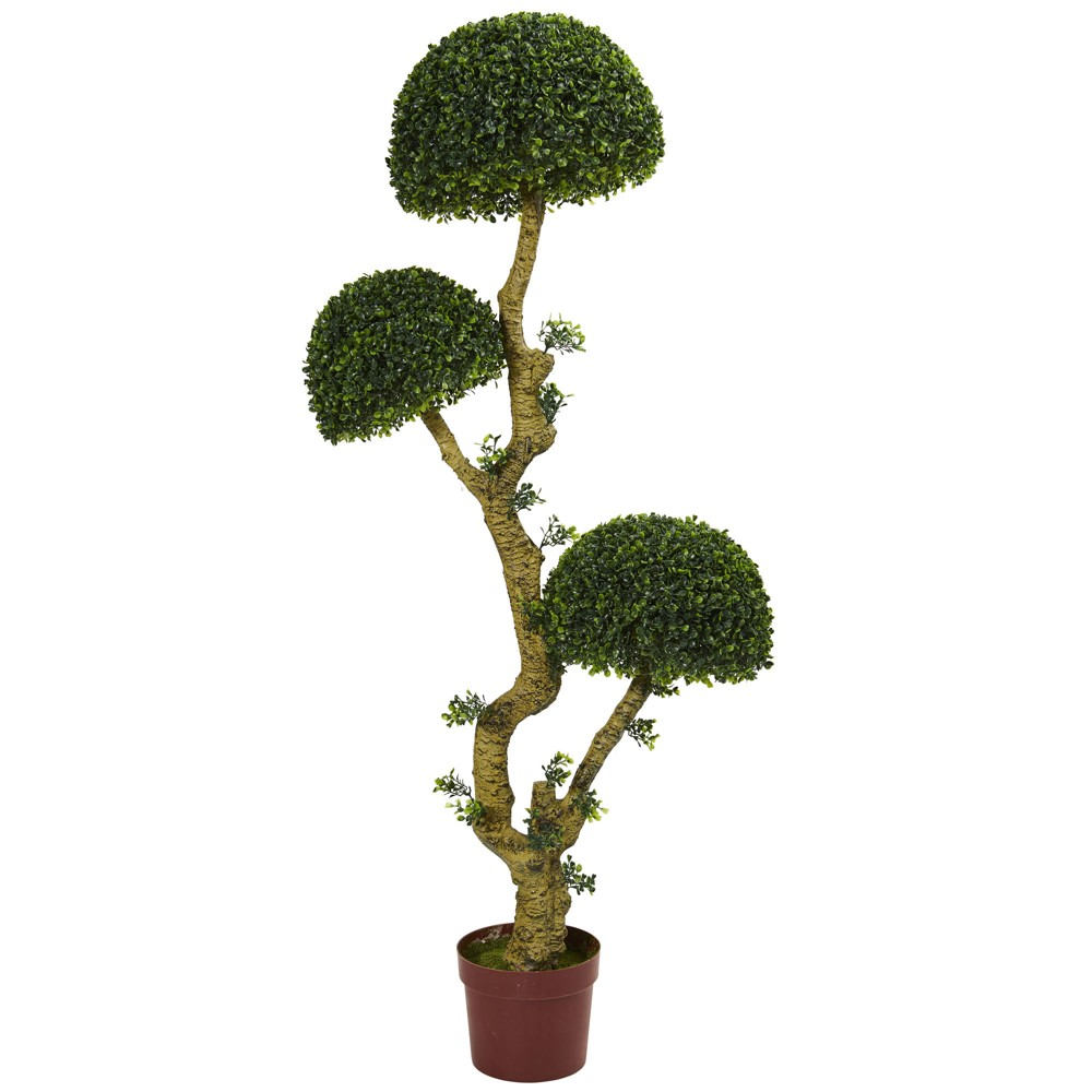 5ft Triple Boxwood Artificial Tree - Nearly Natural, Green