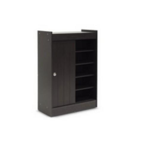 d967c646ec3 Espresso Finished Shoe Rack Cabinet Dark Brown - Baxton Studio   Target