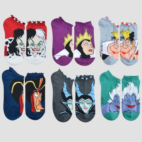 Women's Disney Villains 6pk Low Cut Socks - Colors May Vary One Size - image 1 of 2