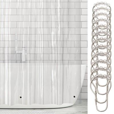 mDesign Waterproof Vinyl Shower Curtain Liner, 4.8-GA - Clear/Chrome