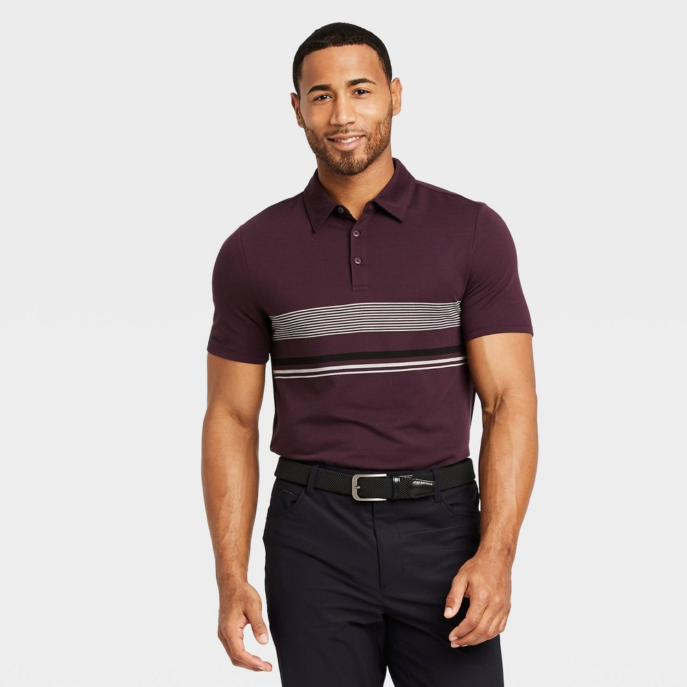 Men's Chest Stripe Golf Polo Shirt - All in Motion Purple S was $24.0 now $12.0 (50.0% off)