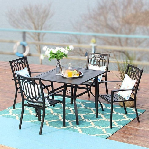 5pc Metal Indoor Outdoor 37 Square, Outdoor Patio Table And Chairs With Umbrella Hole