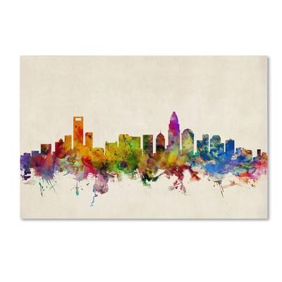 Charlotte North Carolina Watercolor Skyline Wall Art Home Decor Poster UNFRAMED