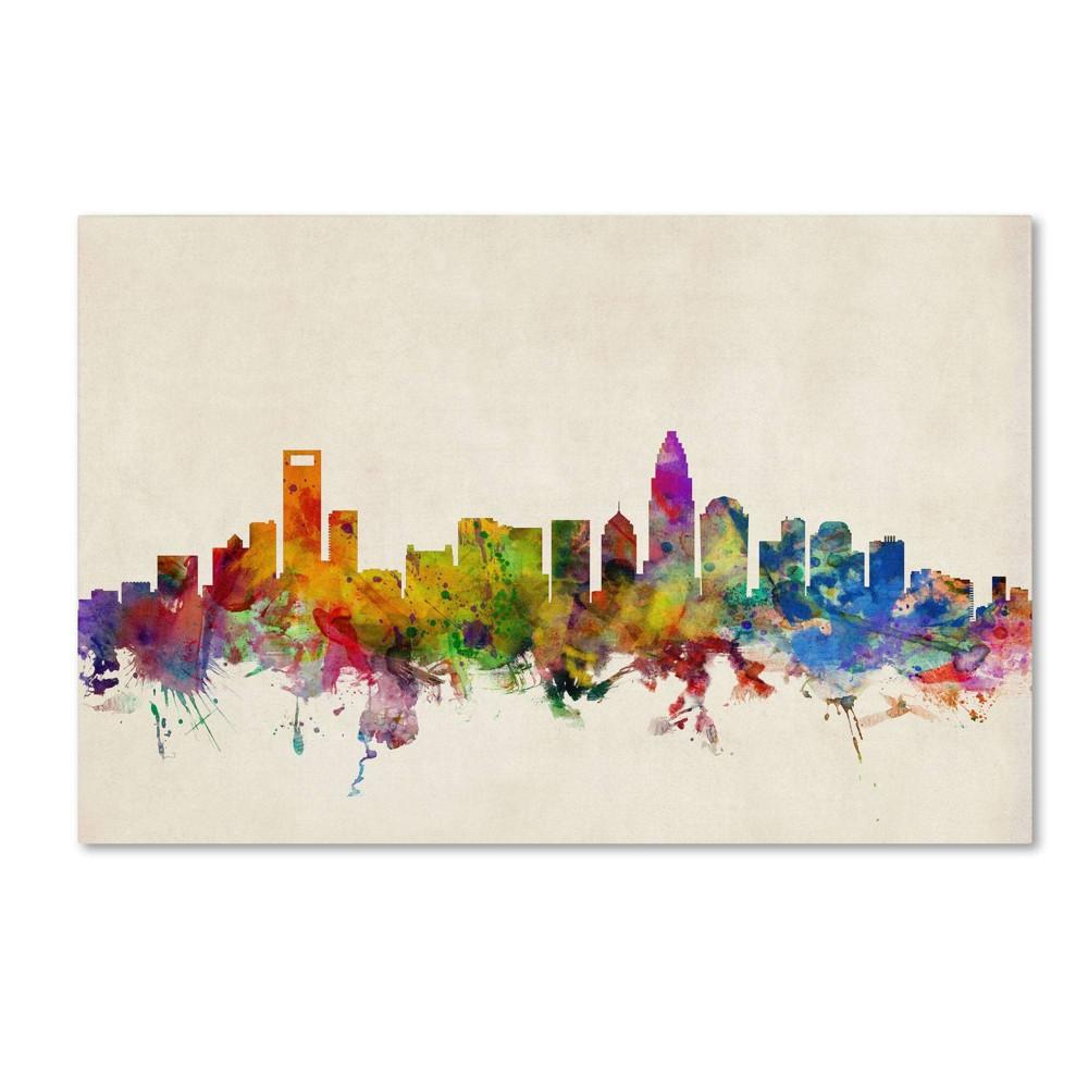 30 34 X 47 34 Charlotte Watercolor Skyline By Michael Tompsett Trademark Fine Art