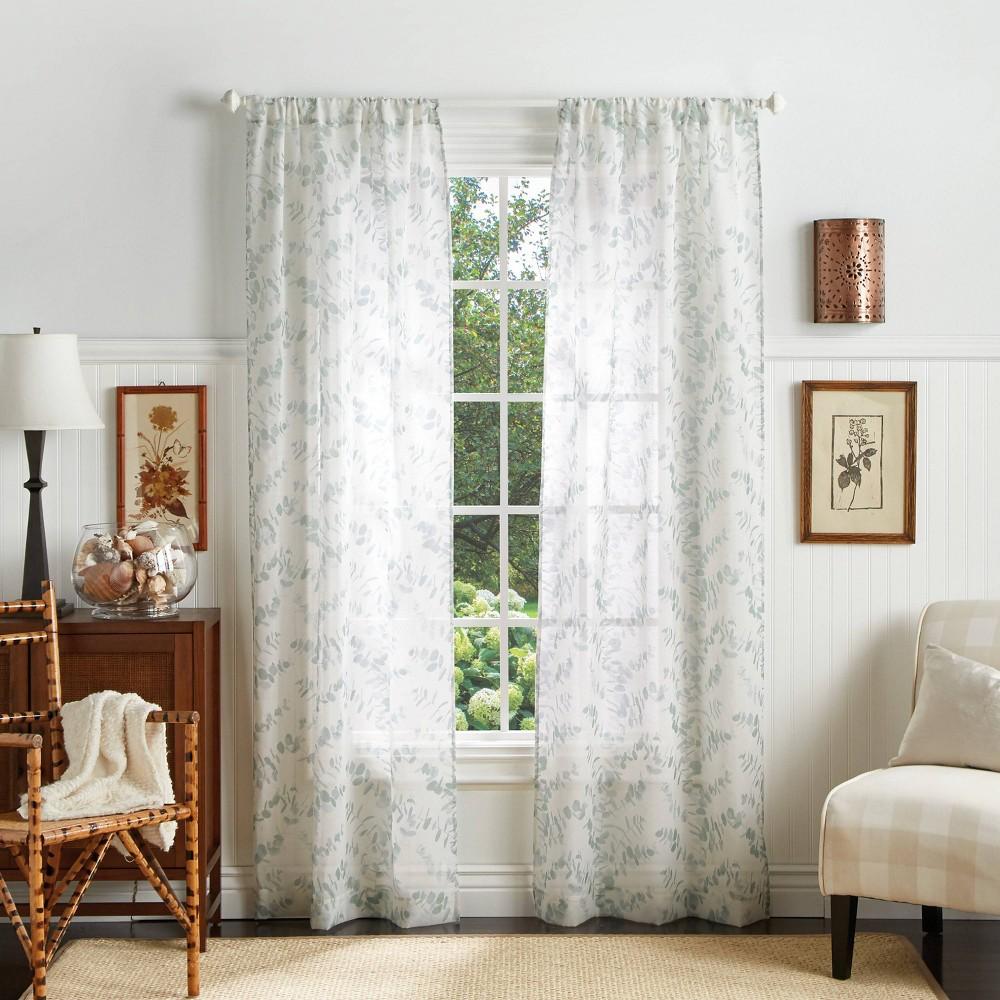 "Image of ""Set of 2 95""""x37"""" Eucalyptus Sheer Curtain Panels Blue - Martha Stewart"""