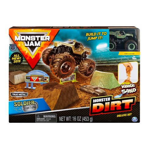 Monster Jam Soldier Fortune Monster Dirt Deluxe Set Featuring 16oz of Monster Dirt and Official Die-Cast Monster Jam Truck - image 1 of 6