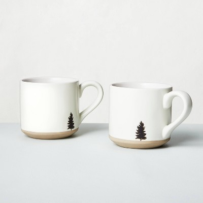 2pk Black Tree Imprinted Stoneware Mug White - Hearth & Hand™ with Magnolia