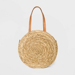 Circle Straw Tote Handbag - Universal Thread™ Natural