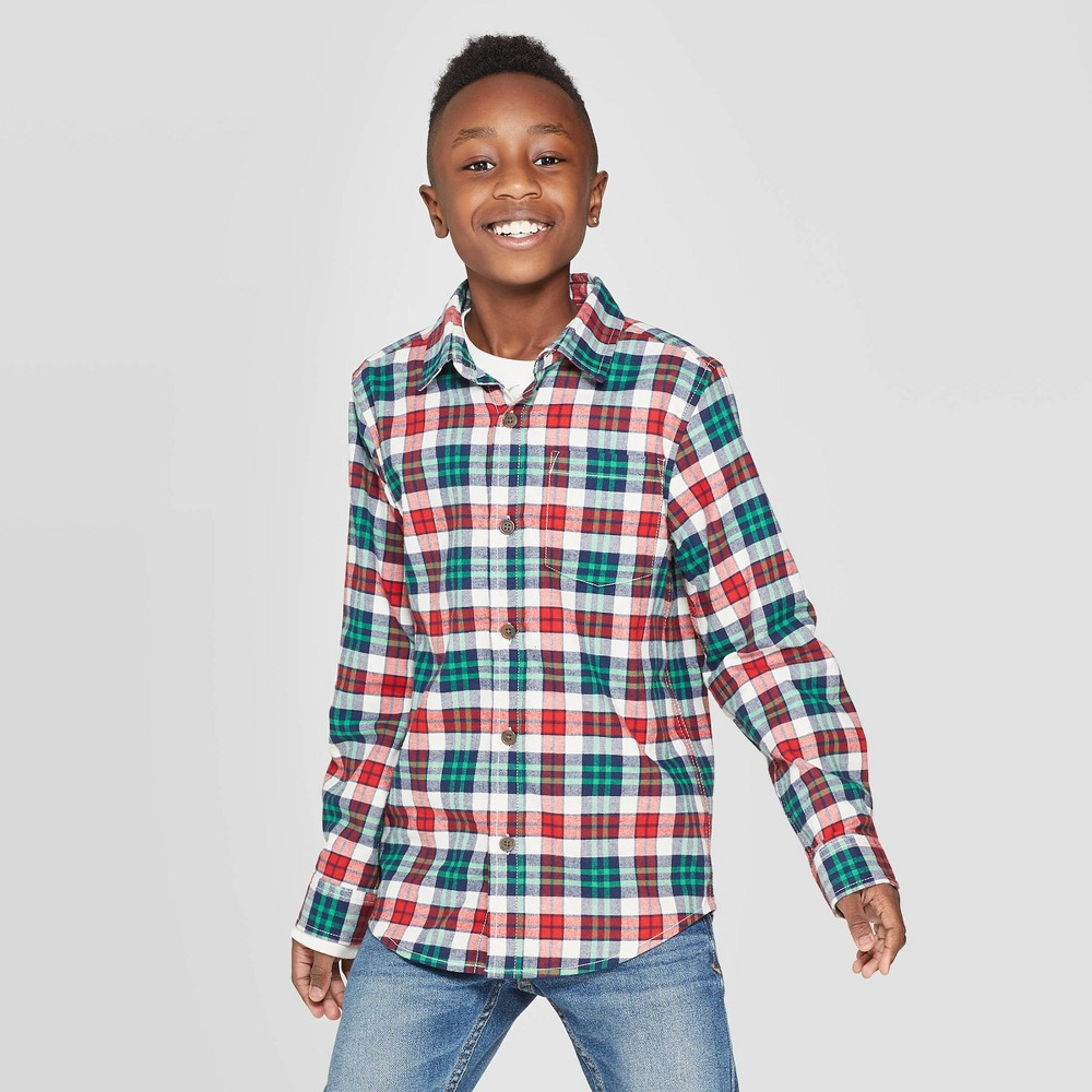 Image of Boys' Check Long Sleeve Button-Down Shirt - Cat & Jack White/Red/Green XL, Boy's