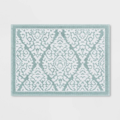 "21""x30"" Accent Bath Mat Aqua Ogee - Threshold™"