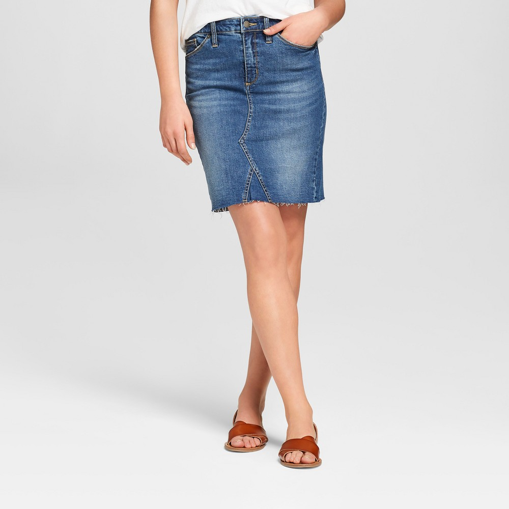 Women's Denim Mini Skirt - Universal Thread Dark Wash 18, Blue