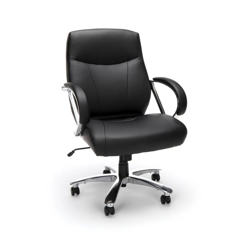 Avenger Series Leather Mid-Back Big and Tall Executive Chair Black - OFM - image 1 of 4