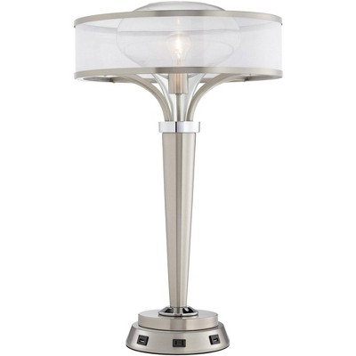 Possini Euro Design Art Deco Table Lamp with USB and AC Power Outlet Workstation Charging Base Brushed Nickel Living Room Bedroom