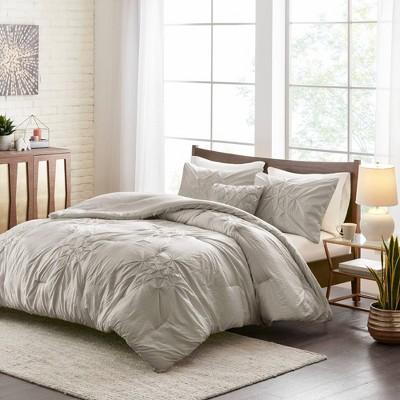 Nadeen Full/Queen 4pc Tufted Seersucker Comforter Set Gray