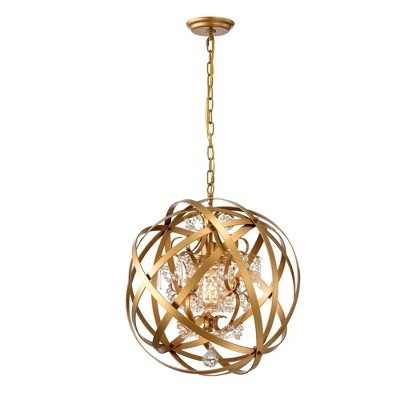 """19"""" x 19"""" x 52"""" Verite Chandelier with Globe Metal Shade Gold - Warehouse Of Tiffany"""