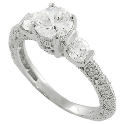 1 1/8 CT. T.W. Round-cut CZ Prong Set Three-stone Eternity Ring in Sterling Silver - Silver - image 1 of 2
