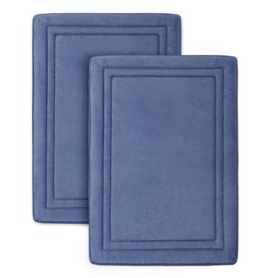 2pc Quick Drying Memory Foam Framed Bath Mat with GripTex Skid-Resistant Base Dark Blue - Microdry