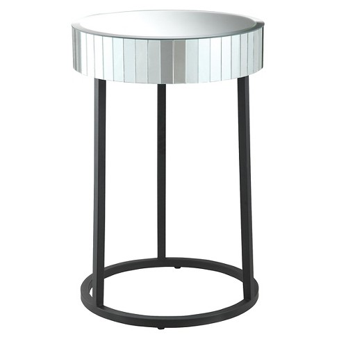 Krystal Round Mirror Accent Table with Metal Legs - Office Star - image 1 of 4