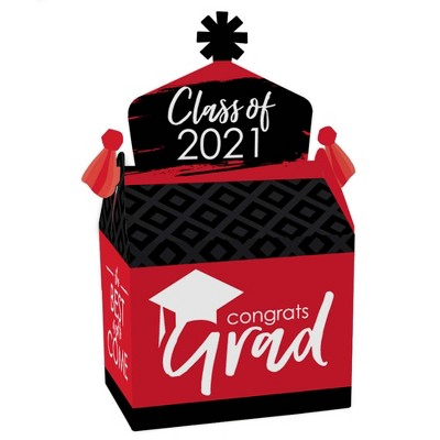Big Dot of Happiness Red Grad - Best is Yet to Come - Treat Box Party Favors - 2021 Red Graduation Party Goodie Gable Boxes - Set of 12
