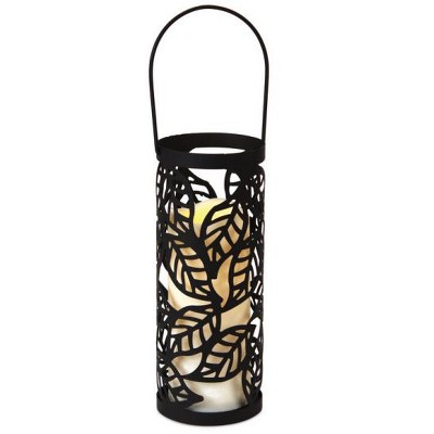 "Melrose 10"" Black Leaf Pattern LED Flameless Pillar Candle Lantern"