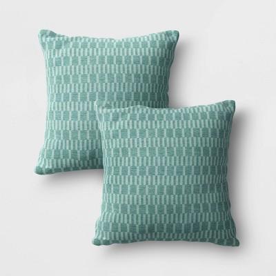 2pk City Geo Outdoor Pillow DuraSeason Fabric™ Smoke Green - Project 62™
