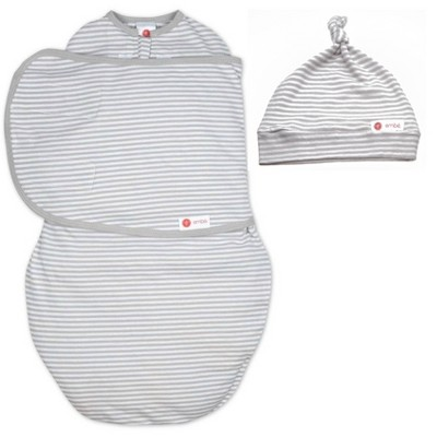embe Top Knot Hat and Starter Swaddle Original Bundle - Gray Stripe