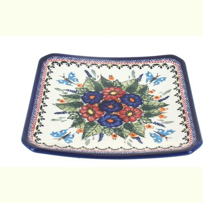 Blue Rose Polish Pottery Floral Butterfly Square Dessert Plate